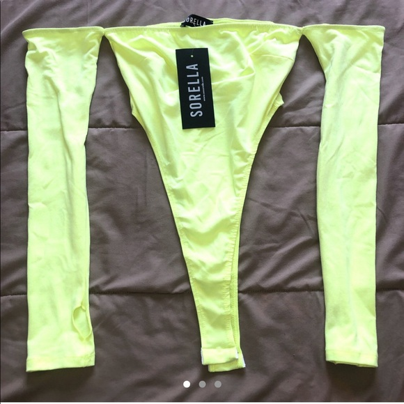 Bright Neon Lime Green Off The Shoulder Bodysuit